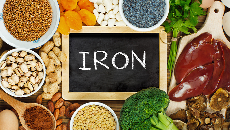 Image of iron rich foods, such as liver, dried beans, and nuts